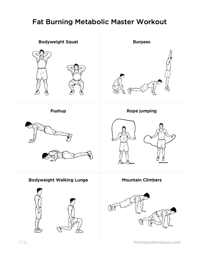 "Fat Burning ""Metabolic Master"" Printable Exercise Plan for ..."