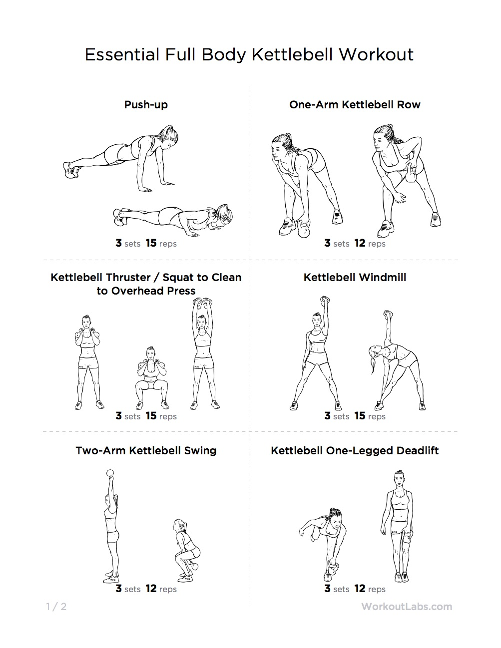 Essential Full Body Kettlebell Printable Workout for Men ...