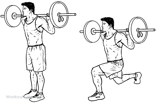 Barbell Lunge   Illustrated Exercise guide - WorkoutLabs
