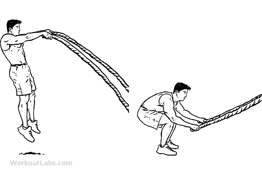 Battle Rope Double Arm Slam | Illustrated Exercise guide ...