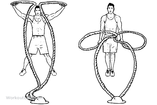 Battle rope jumping jacks illustrated exercise guide workoutlabs