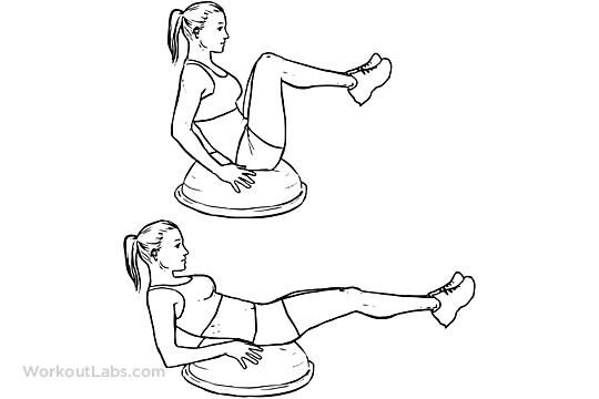 Bosu Ball Leg Pull In Knee Tuck Illustrated Exercise