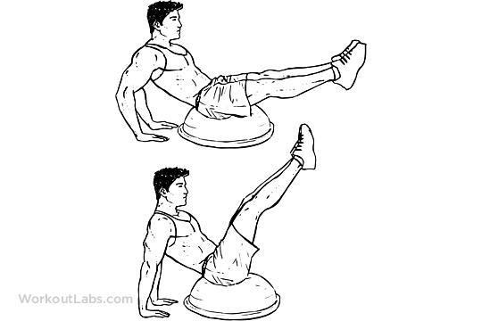 Bosu Ball V Ups Illustrated Exercise Guide Workoutlabs