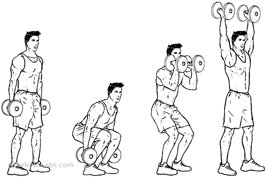Dumbbell Squat Clean and Press | WorkoutLabs