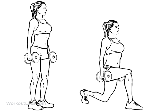Dumbbell Walking Lunges | WorkoutLabs