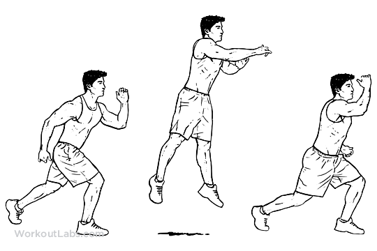 explosive jumping alternating lunges