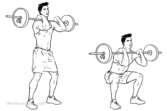 Front Barbell Squat Illustrated Exercise Guide Workoutlabs