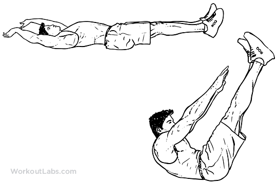 Jackknife Sit Up Crunch Toe Touches Illustrated