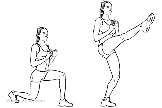 Lunge / Front Kicks | Illustrated Exercise guide - WorkoutLabs
