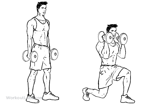 lunging    lunge with bicep hammer curls
