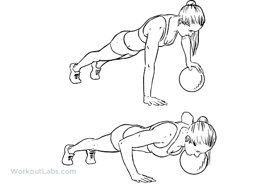 Single Arm Medicine Ball Push-Up | Illustrated Exercise guide ...