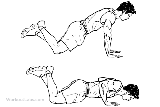 Modified / Knee Push-up | Illustrated Exercise guide ...