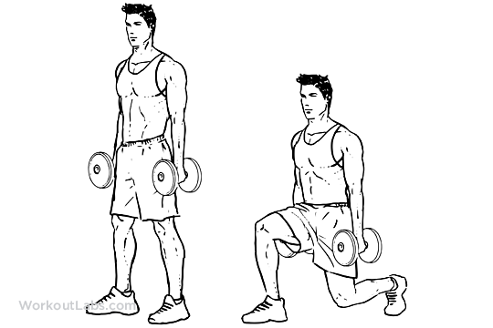 Reverse Dumbbell Lunge Illustrated Exercise Guide