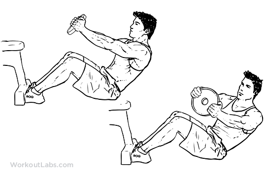 Russian / V-Sit With Twist   Illustrated Exercise guide ...