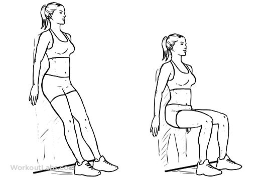 Wall Sit Squat Chair Illustrated Exercise Guide