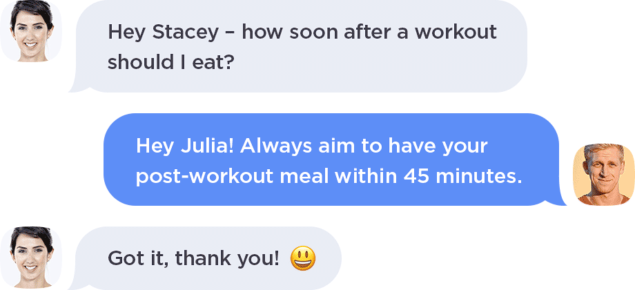 Trainer chat support for exercise and nutrition questions