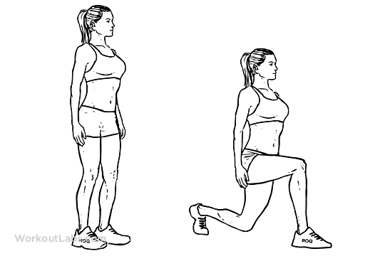 Bodyweight Walking Lunge Illustrated Exercise Guide