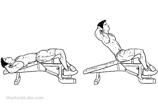 Decline Bench Crunches Sit Ups Workoutlabs