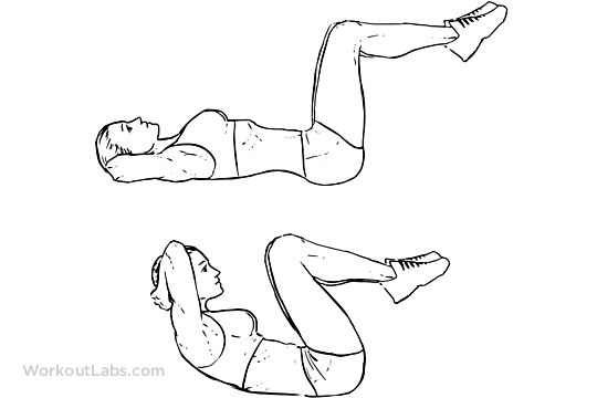 Double Crunch | Illustrated Exercise guide - WorkoutLabs