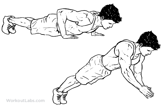Dynamic Clap Push Up Illustrated Exercise Guide