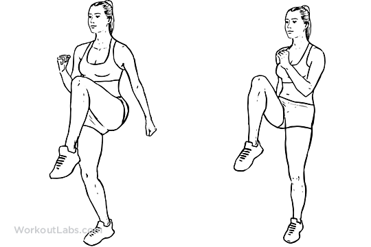 High Knees Front Knee Lifts Illustrated Exercise Guide