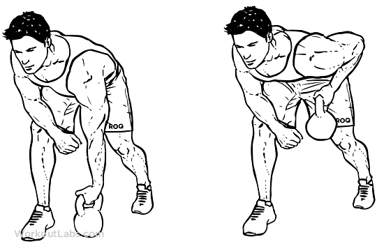 One-Arm Kettlebell Row | Illustrated Exercise guide ...